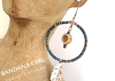 Beaded Boho Hoops & Copper Feather