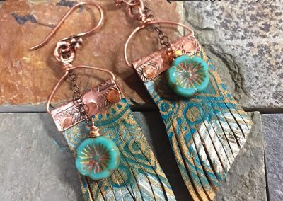 Boho Fringe Flower and Copper Earrings