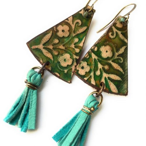 Leather and fringe boho handcrafted earrings