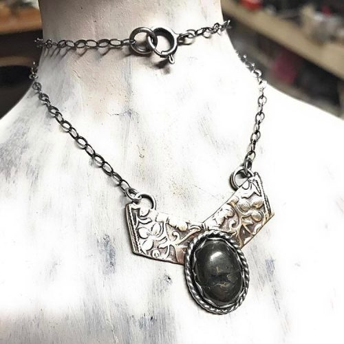 A special order  bronze pyrite and sterlingsilverjewelry choker byhellip