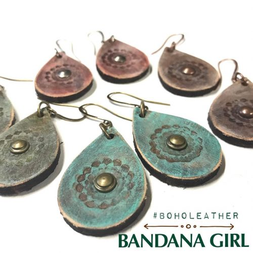 Rustic boholeather drop earrings our newest handcrafted design in leatherhellip