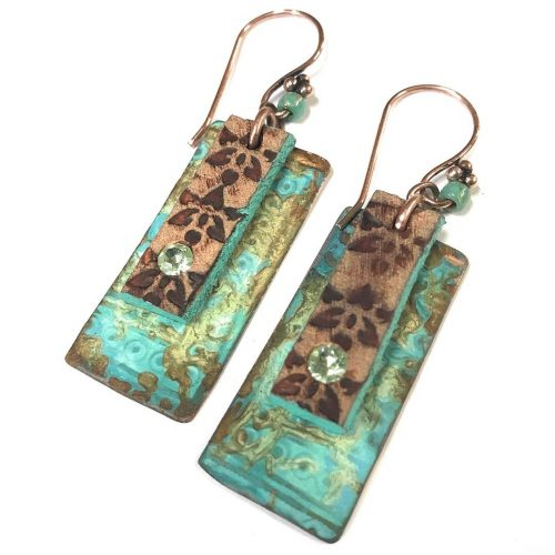 patina amp leather amp crystals make the perfect earrings bohostylehellip