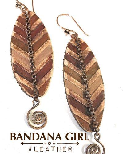 bandanagirl leather chevron earrings handmadeatamazon