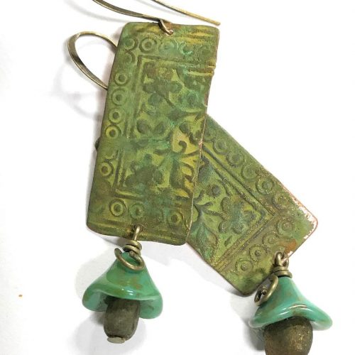 Athena patina flower drop earrings boho handmadeatamazon copper