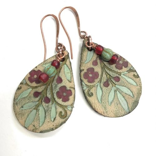 leather teardrop earring in wine  oh so delicious? Handmadehellip