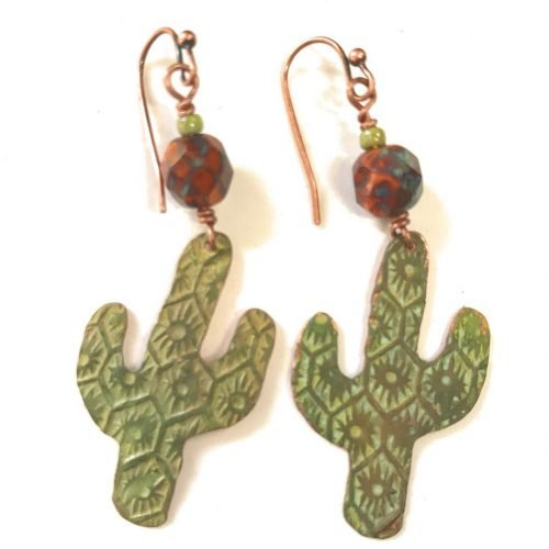 Cool cactus textured amp patina earrings by bandanagirl countrygirl westernstyle