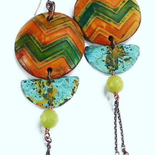 Big bold amp Beautiful! Oversized leatherpatina earrings boho countrygirl allhellip