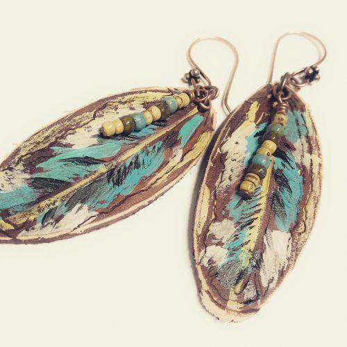 Fun leather painted earrings! leather earrings handmadejewelry bandanagirl