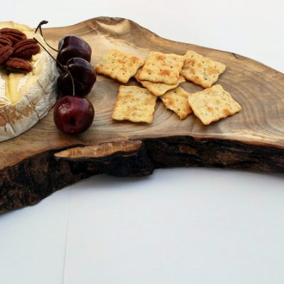 Maple Live Edge Cheese Tray with cheese and Crackers