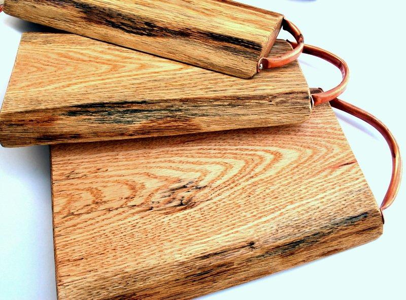 Medium Hidden Hill Cutting Board Live Edge Oak With Copper