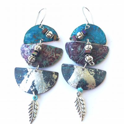 Silver leaf Patangles with silver leafing and beads