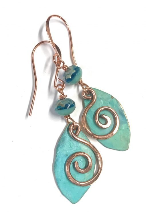 patina swirl leaf earrings