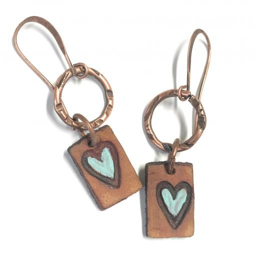 leather patina heart earrings