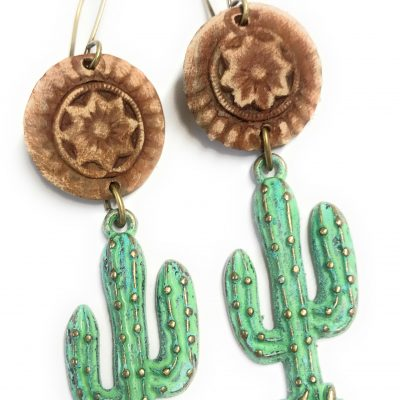 leather patina cactus earrings