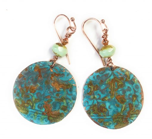 athena blue rust patina round earrings