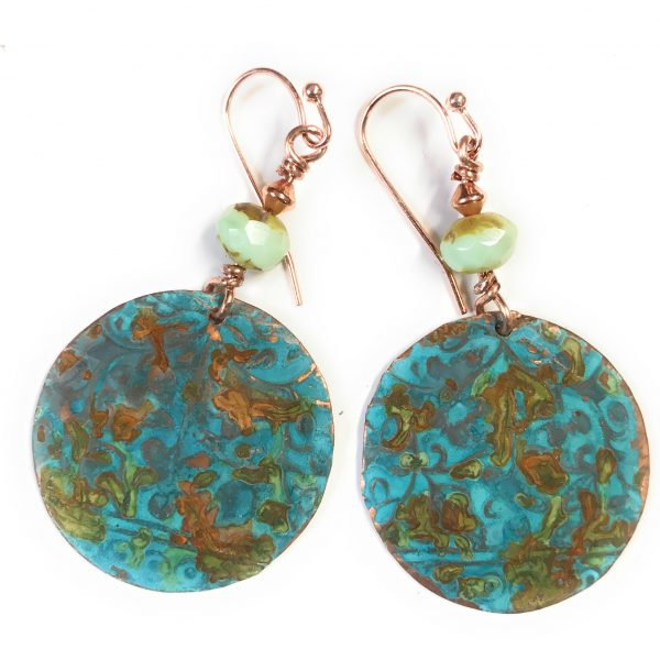 Athena Turquoise and Rust Patina Beaded Copper Round Earrings